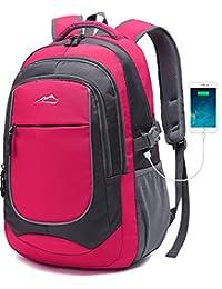 2019 学生书包背包,大学生旅行,商务徒步旅行,笔记本电脑 *大 15.6 英寸轻便夜灯反光