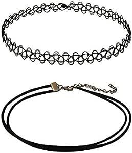 Mareine 2 x 颈圈项链黑色哥特式弹性双线纹身领项链 女式