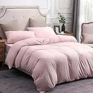 PURE ERA 纯色棉质超柔针织家居床上用品 3 件套被套套装,1 被子和 2 个枕套 LightCoral King PE-19LC-K