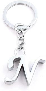 迪诺卡(Dinoka) 钥匙圈 钥匙圈 钥匙链 字母 传递器 吊坠钥匙扣 合金 挂坠 车挂饰 手提包 电话挂坠 创意礼物 (银N)