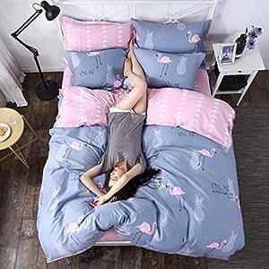J.H.Longess 全棉斜纹印花四件套纯棉AB版被套床单套件40支高密床上用品套件 (魔力宝贝, 1.5米/1.8米床适用(被套200*230cm))