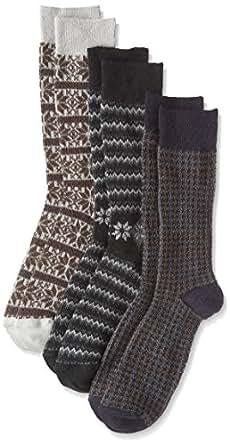 ( walcha ) 提花袜子3双装  多色 日本 25-27-(日本サイズM相当)