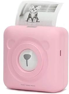 便携式照片打印机迷你移动热标签贴纸收据打印机 Munbyn 兼容 Android iOS 设备 Windows 系统儿童绘画 Mini Pink Pocket Printer
