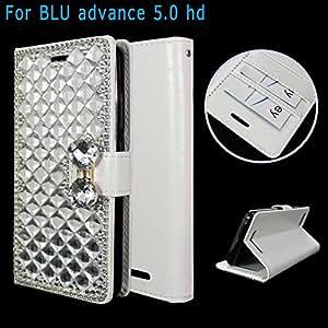 "BLU Advance 5.0 HD 保护套 A050U 5.0"" / BLU Dash X2 外壳 D110U 5.0"" 完美贴合奢华皮革钱包保护套带卡和身份证隔层显示窗BLU Advance 5.0 HD/BLU Dash X2 WC White Diamond Bling"