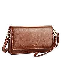 女士斜挎钱包皮革手拿包,小钱包和手提包,带 RFID 卡槽和礼品盒