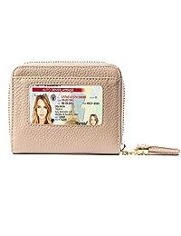 RFID 女士钱包,超薄女士真皮双折钱包,防盗旅行保护