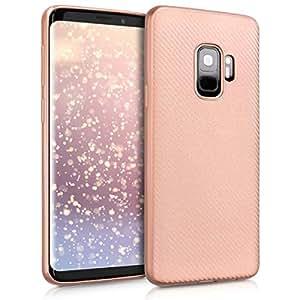 kwmobile 三星 Galaxy S9 水晶手机壳 - 柔软弹性 TPU 硅胶保护套 - 透明46177.81_m000920 .Carbon Metallic rose gold