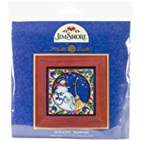 Mill Hill Jim Shore Snowman Counted Cross Stitch Kit, 5 by 5-Inch