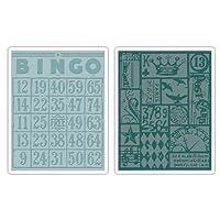 Sizzix 656643 Texture Fades 压花文件夹,宾戈和拼接套装 Tim Holtz 出品 2 个装,多色