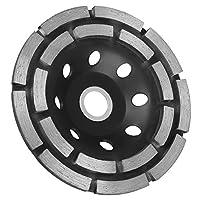 EEEKit 4-1/2 英寸双排钻石杯研磨轮适用于混凝土、花岗岩、石头、大理石等 黑色 H9A717B-E001643204FBA