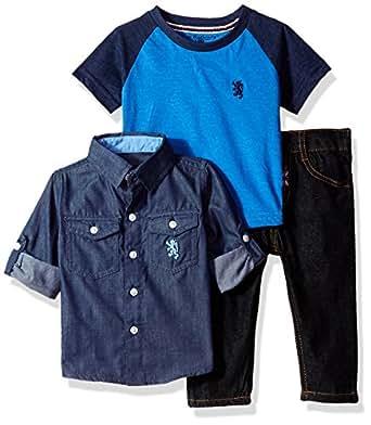 English Laundry 男婴长袖衬衫,T 恤衫和裤子套装(多种款式)  Multi Plaid 18 Months