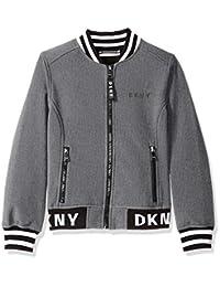DKNY 女童大款时尚软壳飞行员夹克,带标志饰边