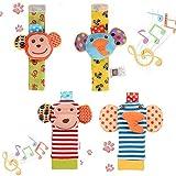 FunsLane 婴儿摇铃,婴儿手腕摇铃和脚踏搜索器袜玩具套装,教育开发软动物玩具淋浴礼品 B 4 Packs