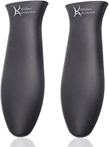 Kitchen Addiction 2 件装优质大号硅胶热手柄夹子 - 铸铁或金属厨具 - 2 件装 黑色 JA101805