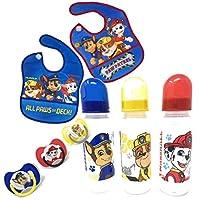Paw Patrol 狗狗巡逻队男孩婴儿喂食套装:3 个婴儿奶瓶,2 个围嘴和 3 个安抚奶嘴,毛刷和小砾(8 件)