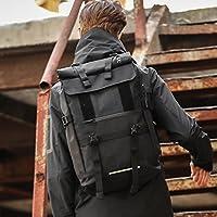 男士多功能休闲户外双肩包 通勤休闲户外旅行多功能双肩包登山背包时尚防水背包 (黑色)