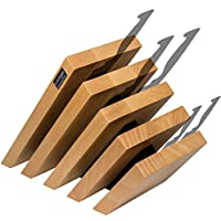 Artelegno Solid Beech Wood 5 Panel Magnetic Knife Block, Luxurious Italian Venezia Collection by Master Craftsmen Displays up to 10 High-End Knives Elegantly, Eco-friendly, Natural with Black Accents
