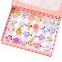 PinkSheep 小女孩宝石戒指(包装盒内),可调节,无重复,女孩假装游戏和装扮戒指 24 Surface Ring 小号 粉红色
