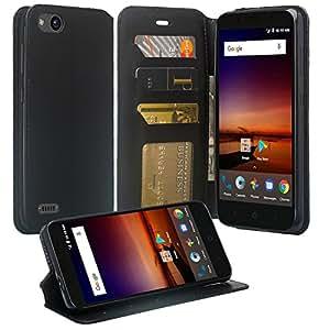 中兴 Avid 4 手机壳,中兴 Tempo X N9137 手机壳,SOGA [口袋本系列] PU 皮革磁性翻盖钱包手机壳适用于中兴 Avid 4 / 中兴 Tempo X N9137 奢华黑色