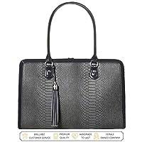 BFB 女士笔记本电脑包 - 17 英寸电脑公文包肩邮差工作手提包 - 黑色