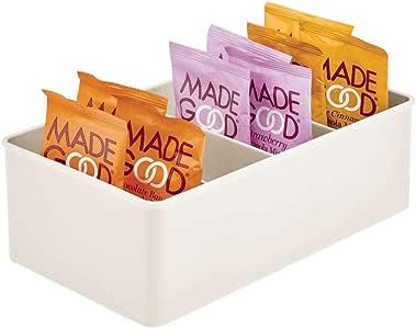 mDesign 塑料厨房食品收纳盒,4 个部分 奶油色 1包 09644MDK