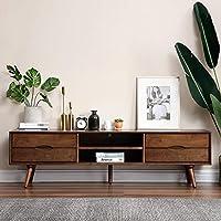 致林 电视柜 实木地柜电视机柜电视桌矮柜 1.8米地柜 胡桃木色 1.8米电视柜(亚马逊自营商品, 由供应商配送)