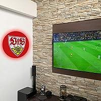 VfB 斯图加特墙罩带 LED 照明 - 足球队徽给真正的粉丝产品 - 德甲体育俱乐部足球壁画白色 红色 1893