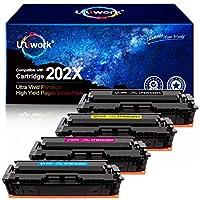 Uniwork 兼容硒鼓替换件适用于 HP 202X 202A CF500X CF500A 与 Laserjet Pro MFP M281fdw M254dw M281cdw M281dw M280nw 打印机(黑色、青色、洋红色、黄色)