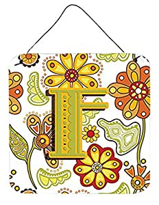 """Caroline's Treasures Letter F Floral Mustard and Green Wall or Door Hanging Prints, 6 x 6"""""""