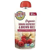 Earth's Best第2階段,香蕉,覆盆子和糙米,4.2盎司(119克) 袋(12包)(包裝可能會有所不同)