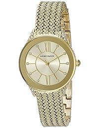Anne Klein 女士 AK/2208CHGB 施華洛世奇水晶點綴金色網格手鏈手表