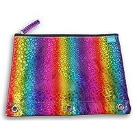 3 环活页夹帆布铅笔收纳袋 - 闪亮彩虹圈