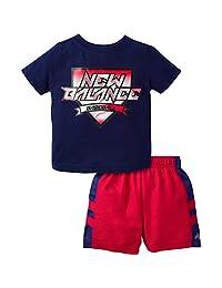 New Balance 男孩 t 恤和短裤套装