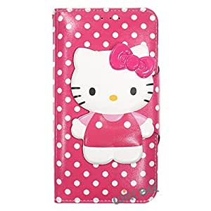 Galaxy Note9 Case HELLO KITTY Cute Diary Wallet Flip/Synthetic Leather/Anti-Shock [ Samsung Galaxy Note9 ] Cover - Button Body Hot Pink