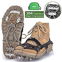 GRM Crampons 冰鞋防滑钉 304 不锈钢鞋钉 适用于鞋子和靴子、散步、远足和钓鱼 冰雪,M 码(红色),L 码(黑色),XL 码(黑色)