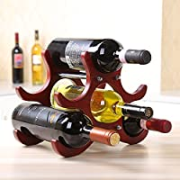 Yandex 欧式创意定制实木红酒架 葡萄酒架摆件 客厅房间装饰 酒吧吧台多瓶款 可拆卸酒瓶架子