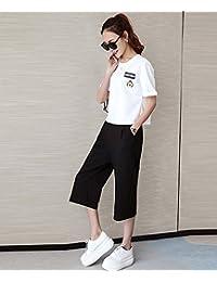 薇小歪 2016夏装新款韩版大码女装圆领短袖印花T恤+休闲阔腿裤套装女 两件套装女夏GD461-8098