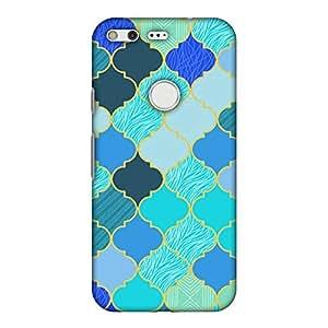 AMZER 修身款手工设计师印花硬质手机壳后盖带屏幕清洁套件皮肤适用于 Google Pixel XLAMZ601040545026 Stained Glass- Carribean Blue