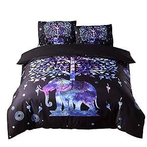 YOUSA 印度大象床上用品波西米亚超细纤维被套 Mandala 设计 Pattern-06 Queen (No Comforter) unknown