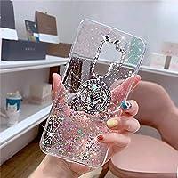 PHEZEN 三星 Galaxy S9 Plus 手机壳闪亮闪亮透明闪耀手机壳适用于女士女孩,闪亮星星 超薄软硅胶 TPU 橡胶缓冲手机壳手机套带环形支架适用于三星 S9 Plus