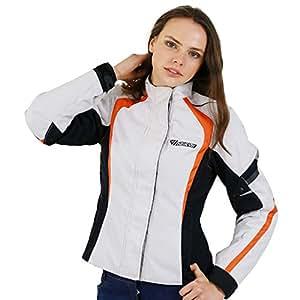 NERVE 23140151_08 Artemis 女士摩托车旅行夹克,尺寸 48,白色/黑色