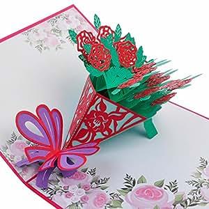 TGJOR 百合花布弹出式贺卡 - 精心设计,手工组装,适合家庭、朋友、假日、感谢您参与生日、婚礼、周年纪念活动等场合 玫瑰红