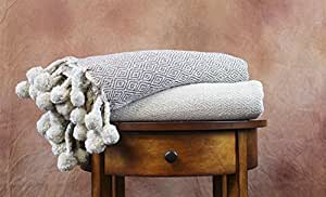 Amrapur 5CTNTRWD-IVT-ST Ivory/Taupe Diamond 100% Cotton Throws (2 Pack), Standard