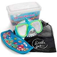 Little Lot 儿童游泳护目镜适合 3-14 岁儿童,采用硅胶防雾和防紫外线 - 无泄漏、无乳胶潜水面罩,带手提包,适合浮潜 - 有趣,可调节男孩、女孩的游泳配件