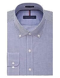TOMMY HILFIGER 男式免烫修身格子衬衫扣领礼服衬衫