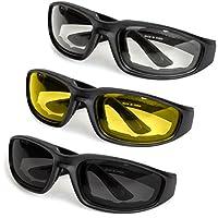 3 件装摩托车眼镜 - 泡沫衬垫 - 防风防尘 - 聚碳酸酯镜片 Universal BE-7698