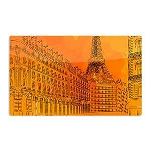 "KESS InHouse Fotios Pavlopoulos""巴黎日落""橙色城市艺术铝磁铁,5.08 cm x 7.62 cm,多色"