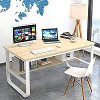 书桌学生学习桌子台式电脑桌笔记本加粗钢木桌家用简约办公桌经济型卧室小桌 (U型枫樱木色(120x60)【推荐】)
