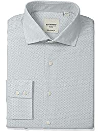 BEN Sherman 男式修身圆点提花领礼服衬衫