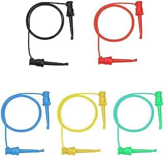 Akozon 5 件彩色万用表电气测试双 SMD IC 硅胶铅测试夹钩